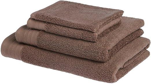 Juego de toallas de baño de lujo de algodón peinado egipcio de 600 g/m2: 1 toalla 50x100cm + 1 toalla para invitado 30x50cm + 1 toalla de Ducha 70x140cm - MARRON: Amazon.es: Hogar