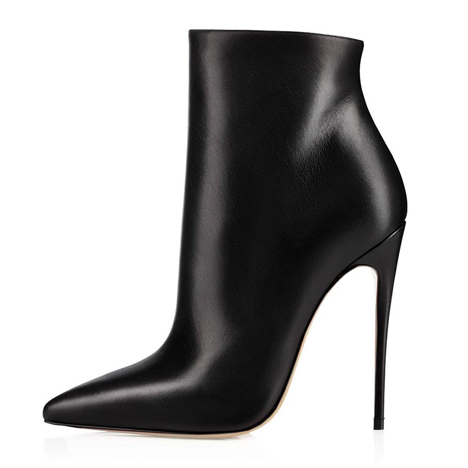 c1779e9013112 Sammitop Women s Pointed Toe Side Zip Ankle Boots Stiletto High Heel Winter  Short Boots