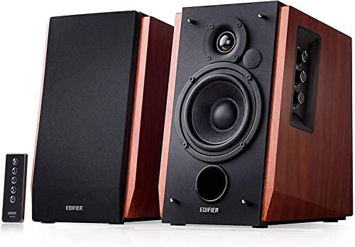 Edifier R1700BT Bluetooth Bookshelf Speakers – Active Near-Field Studio Monitors – Powered Speakers 2.0 Setup Wooden Enclosure – 66w RMS Renewed