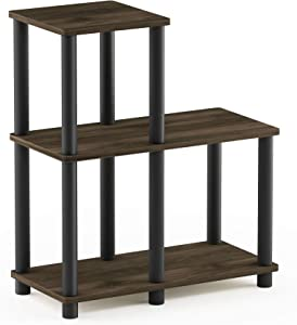 Furinno Turn-N-Tube Accent Decorative Shelf, Columbia Walnut/Black