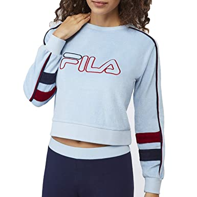 4feff5a87711 Fila Women's Nikita Crew Neck Sweater, Sky Way, Rio Red, Navy, XL at Amazon  Women's Clothing store: