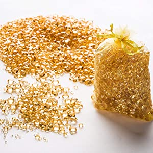 Gold Confetti Rhinestones Diamond Party Decorations, Wedding Decor & Centerpieces: Over 3,000 Luxury Acrylic Table Confetti Gems in Three Different Sizes -The Perfect Finishing Touch for Your Tables
