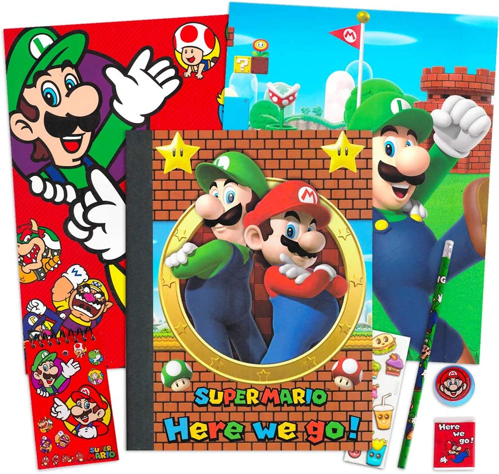 Nintendo Super Mario School Supplies Value Pack Bundle - Folders, Notepad, Pencil, Pencil Sharpener, Eraser, and Stickers (Super Mario School Supplies)