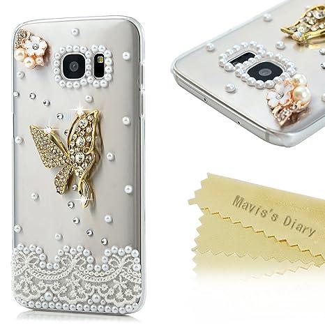 Maviss Diary Funda S7 Edge Carcasa Transparente 3D Bling ...