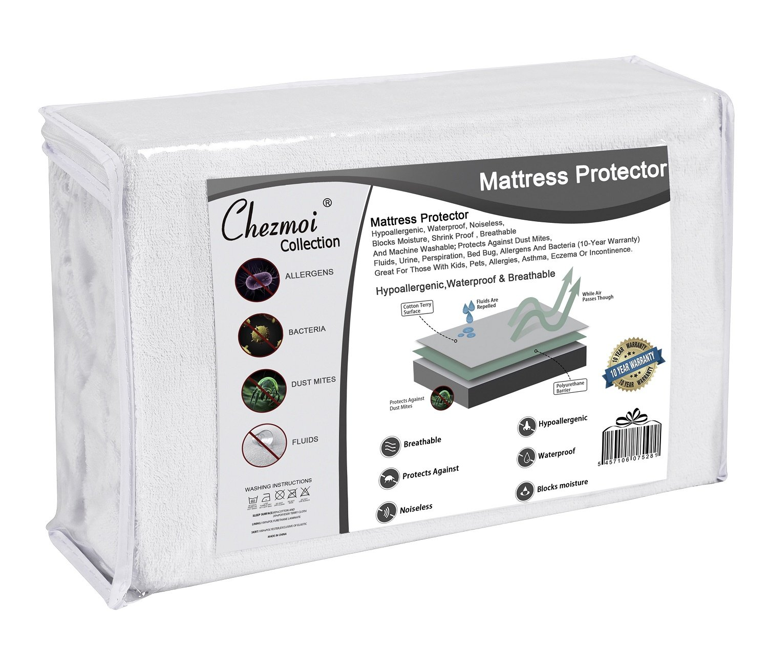 Protects Against Allergens Bacteria Dust Mites /& Fluids Chezmoi Collection Premium Terry Cloth Mattress Protector Mini Crib Hypoallergenic Waterproof Breathable Noiseless