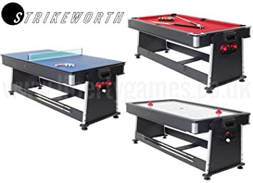 Strikeworth 7ft Multi Games Table With Red Cloth