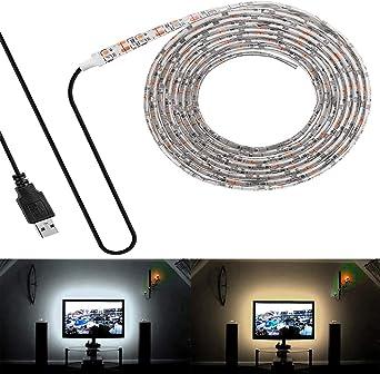 VAWAR Retroiluminación de TV - 0,5M 30LED - blanco cálido, tira de luz LED USB de 5V, flexible, IP65 impermeable, autoadhesivo, antipolvo, adecuado para HDTV y pantalla plana para PC: Amazon.es: Iluminación