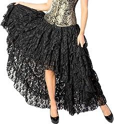 6b03217f896 Burleska Plus Size Amelia Black Lace Gothic Hi Low Burlesque Skirt 1X 2X 3X  4X
