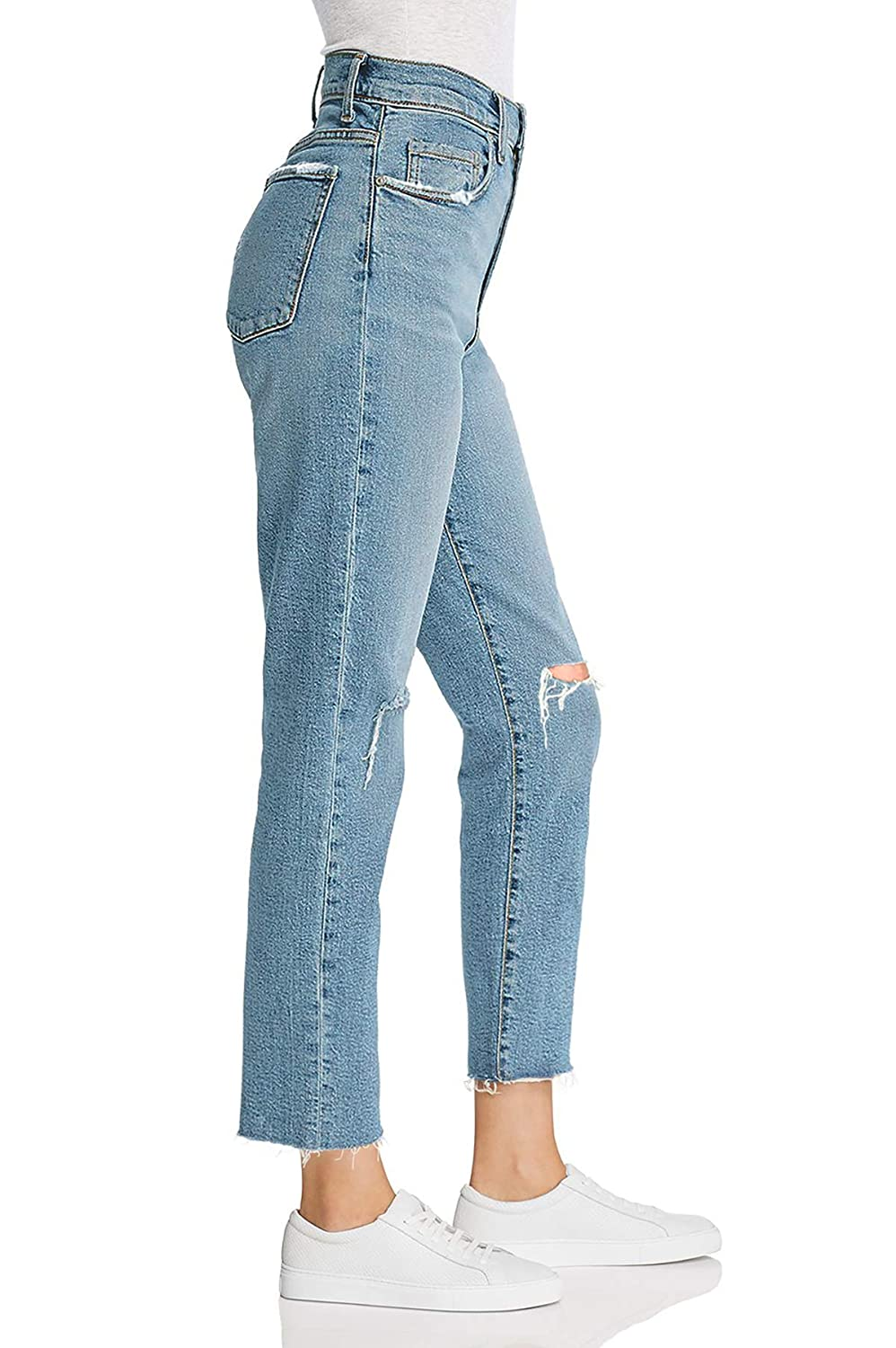 65b7f19cbc1 MONYRAY Distressed Pants High Waisted Juniors Slim Boyfriend Jeans Women  Knee Ripped Frayed Hem at Amazon Women's Jeans store