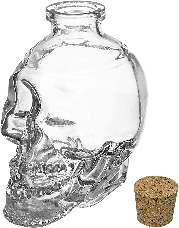 GAOXIAOMEI Decantador De Vino, Jarra De Calavera con Tapón, Gran Whisky, Whisky Escocés Y Vaso De Chupito De Vodka, El Mejor Whisky, Cerveza, Vino, Artículos para Beber