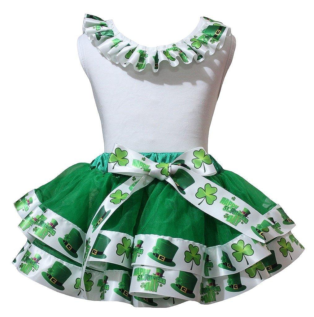 Petitebella Neck Ruffle White Shirt Clover Green Petal Skirt Set Nb-8y