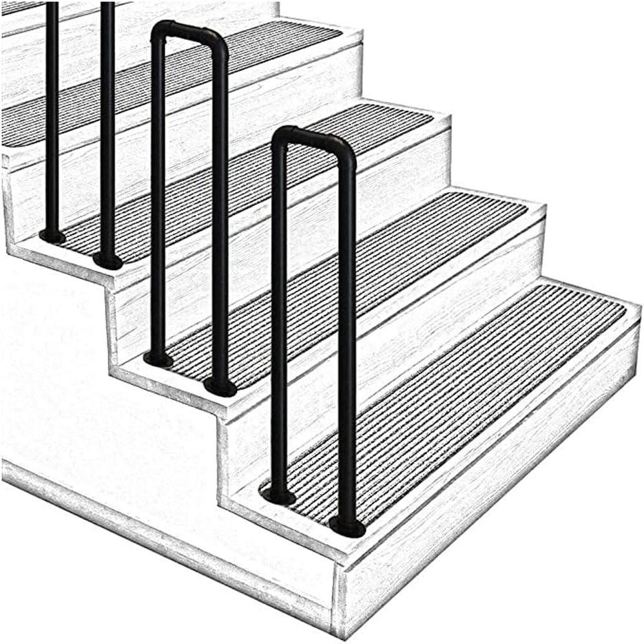 Pasamanos de hierro forjado en forma de U, 1 escalón Pasamanos de escalera de tubo galvanizado negro mate, seguridad para ancianos en interiores o exteriores Barra de apoyo antideslizante