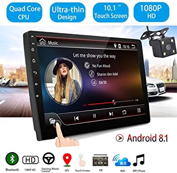 GOFORJUMP 10 Pulgadas Android 8.1 Universal Car Radio Android Car Radio Player GPS NAVEGACIÓN WiFi Bluetooth MP5 Player con cámara de visión Trasera: Amazon.es: Coche y moto