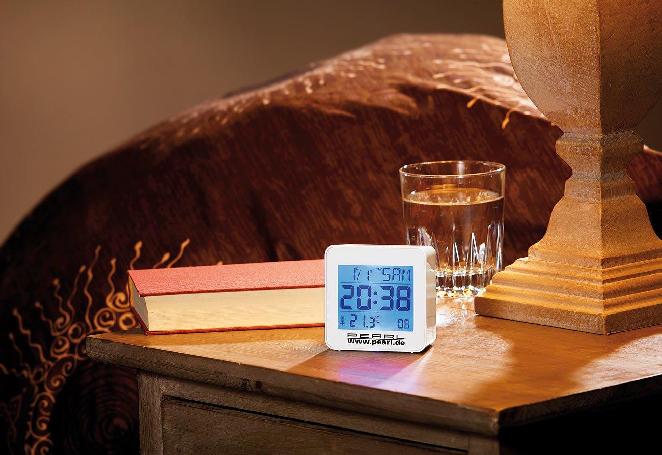 r/éveil sans Fil avec thermom/ètre r/éveil num/érique Compact avec Affichage de la temp/érature et Calendrier Pearl R/éveil de Voyage