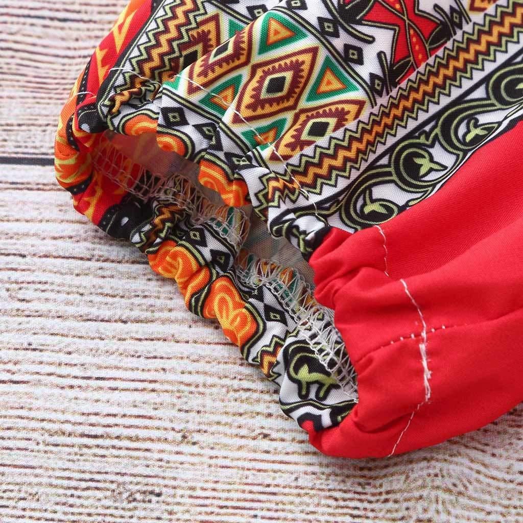 Kids Girl Rompers-Waymine Sleeveless National Wind African Print Jumpsuit+Headband Set 2-7T