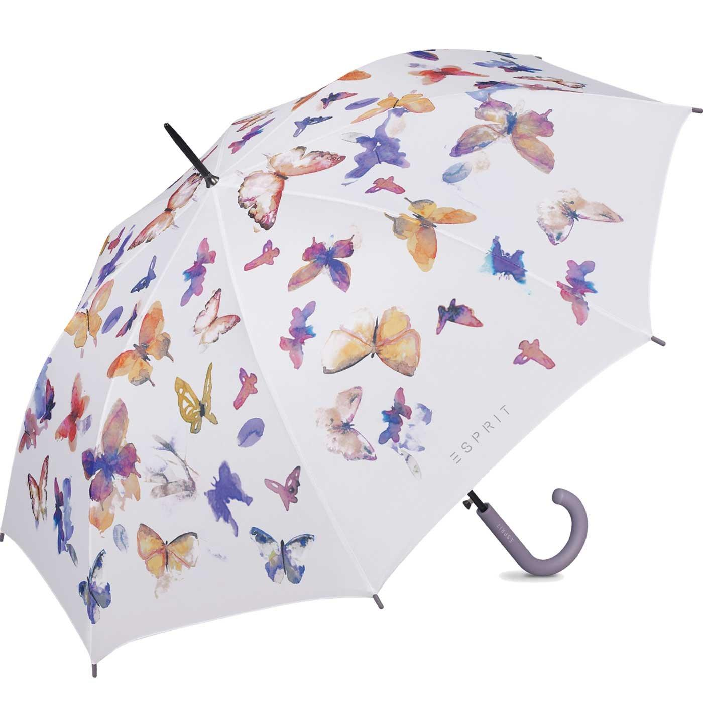 Esprit - Parapluie long femme automatique - Imprimé papillons Le Monde du Parapluie ESPRIT50892BUTTERFLY