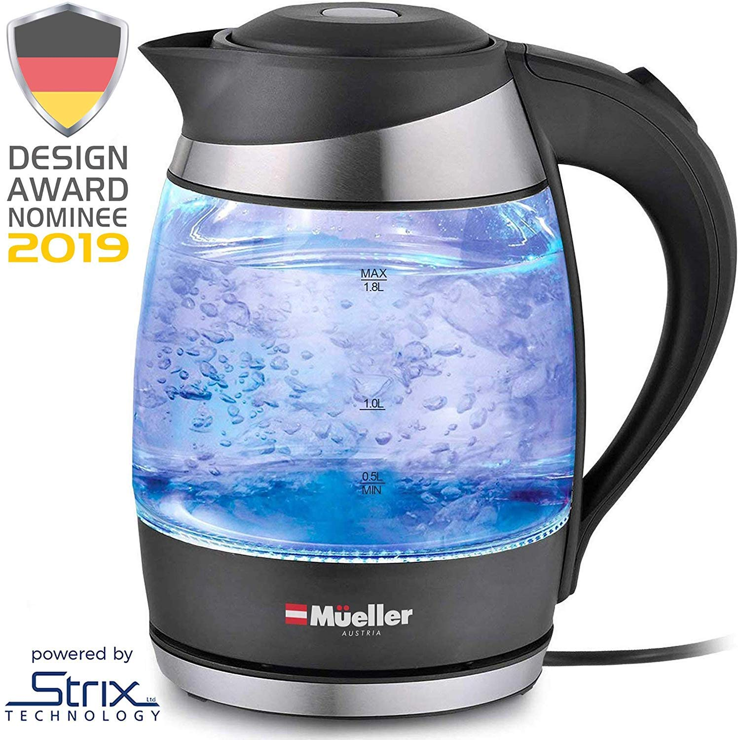 Mueller Premium 2019 Model 1500W Electric Kettle Water Heater with SpeedBoil Tech, 1.8 Liter Cordless with LED Light, Borosilicate Glass, BPA-Free with Auto Shut-Off and Boil-Dry Protection by Mueller Austria
