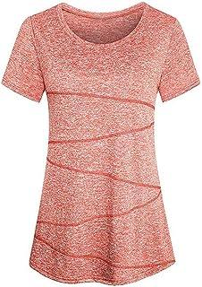 Longra Donna T-Shirt Yoga Casual Manica Corta Top Sportivo Fitness Camicia Comoda Camicetta in Cotone Casual Pullover Top Primavera Maglietta