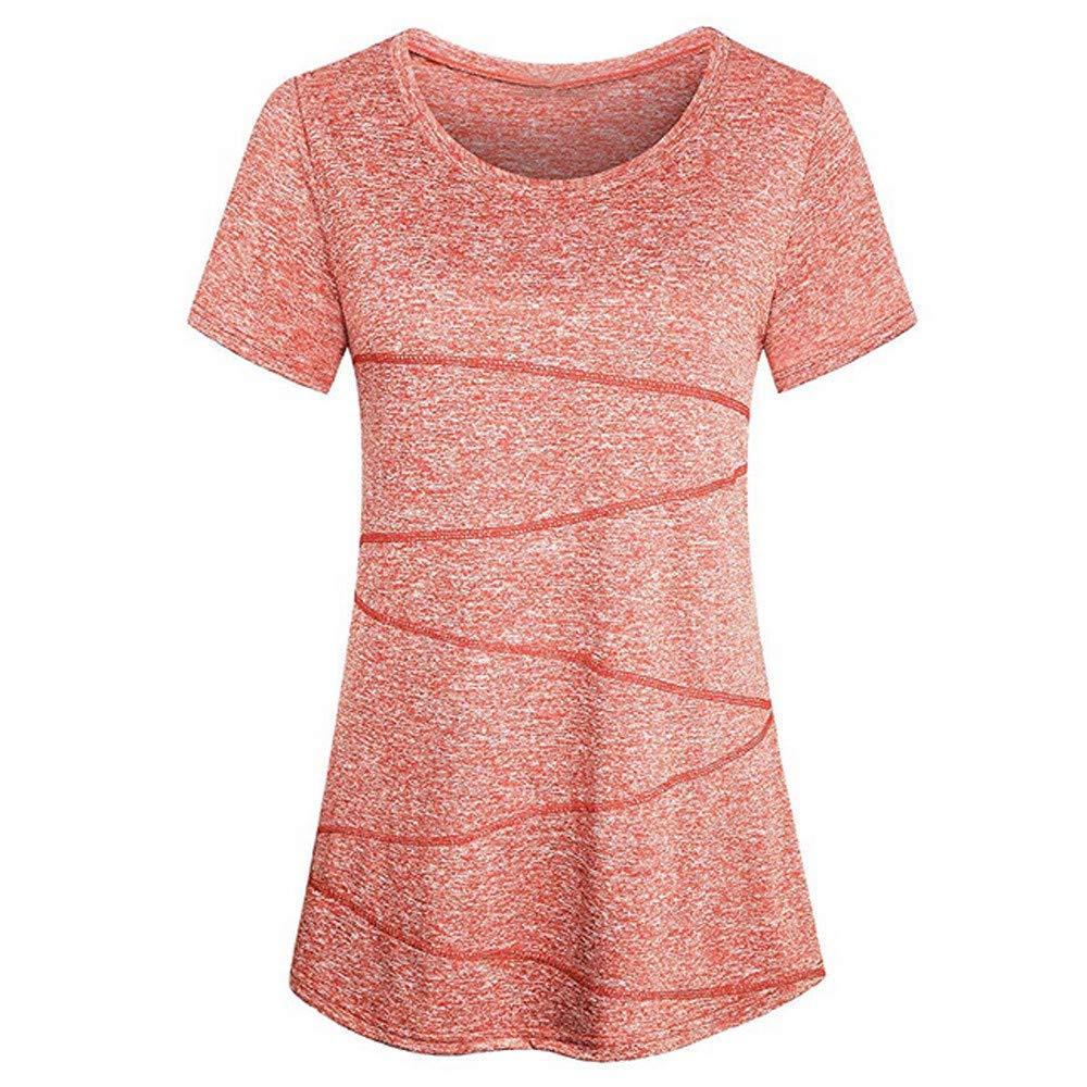 Libermall Women's Casual Short Sleeve T-Shirts Yoga Running Workout Activewear Loose Tunic Shirt Blouse Tops Orange