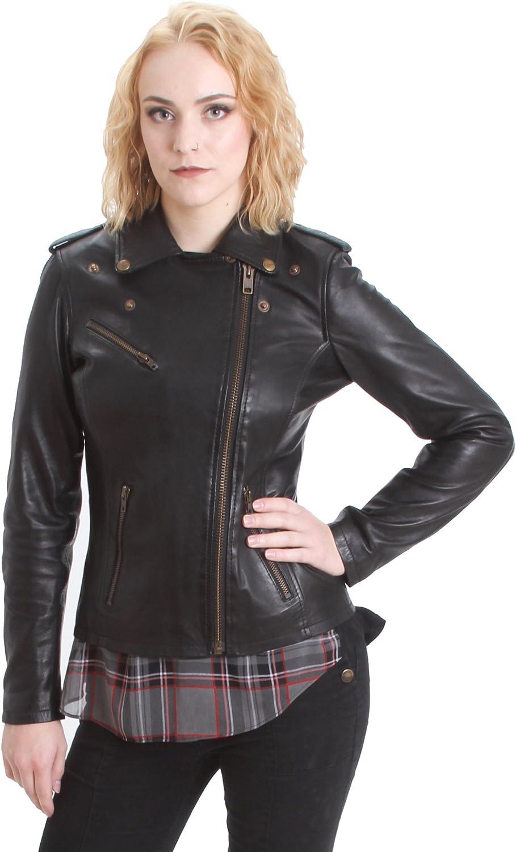 Black Faneema Womens Riva Moto Leather Jacket