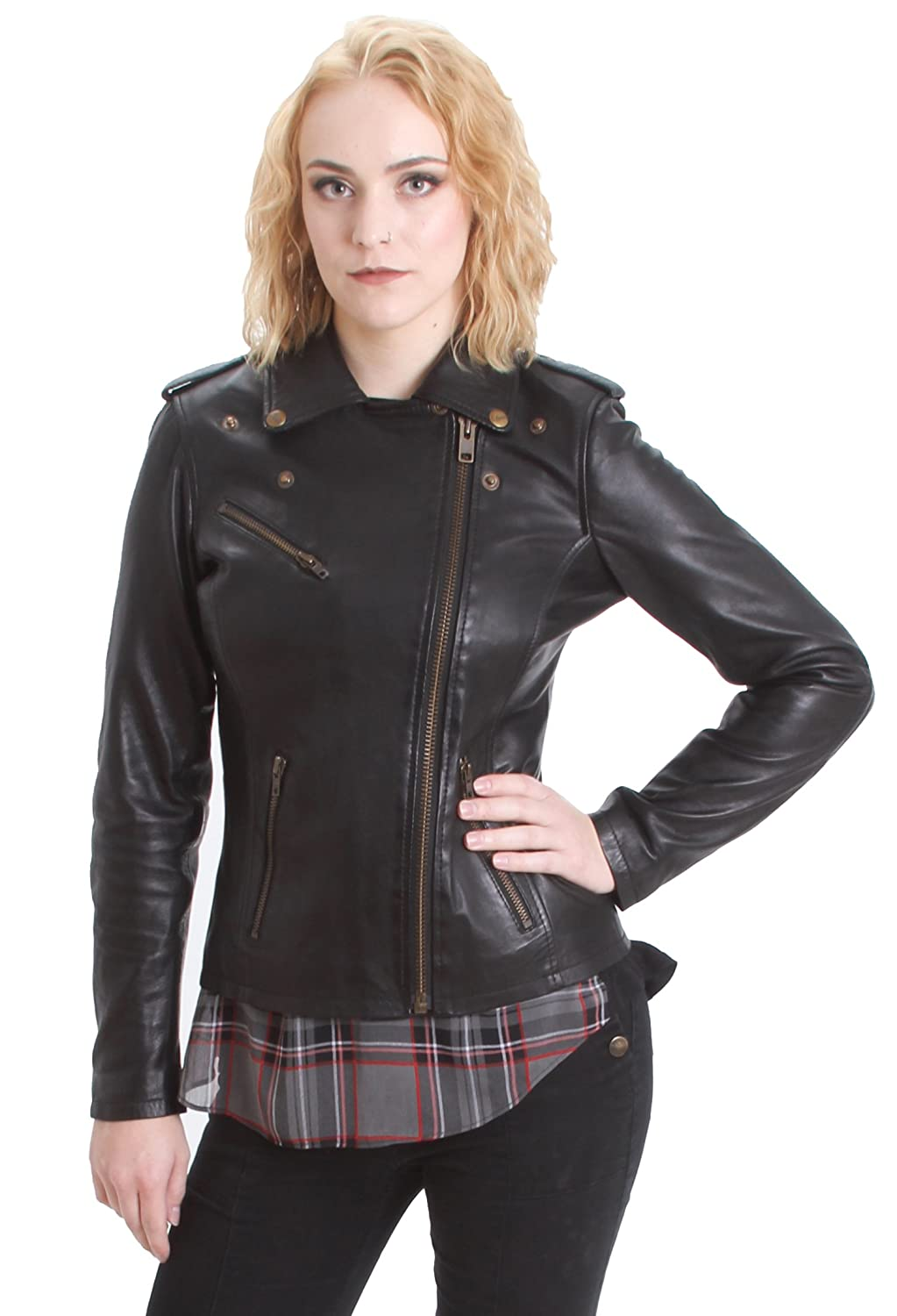 Faneema Riva Moto Lambskin Leather Jacket for Women, Black at ...