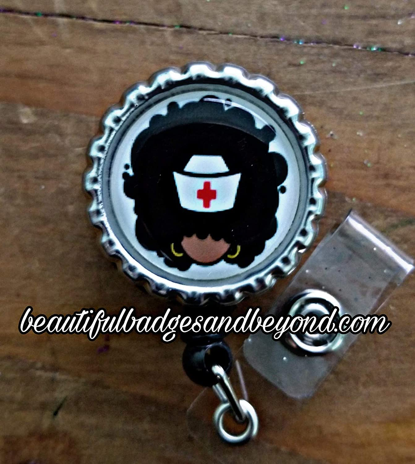 Black Nurse with Afro Retractable Badge Holder