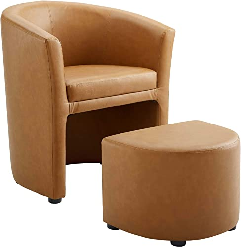 Modway Divulge Faux Leather Armchair and Ottoman Set