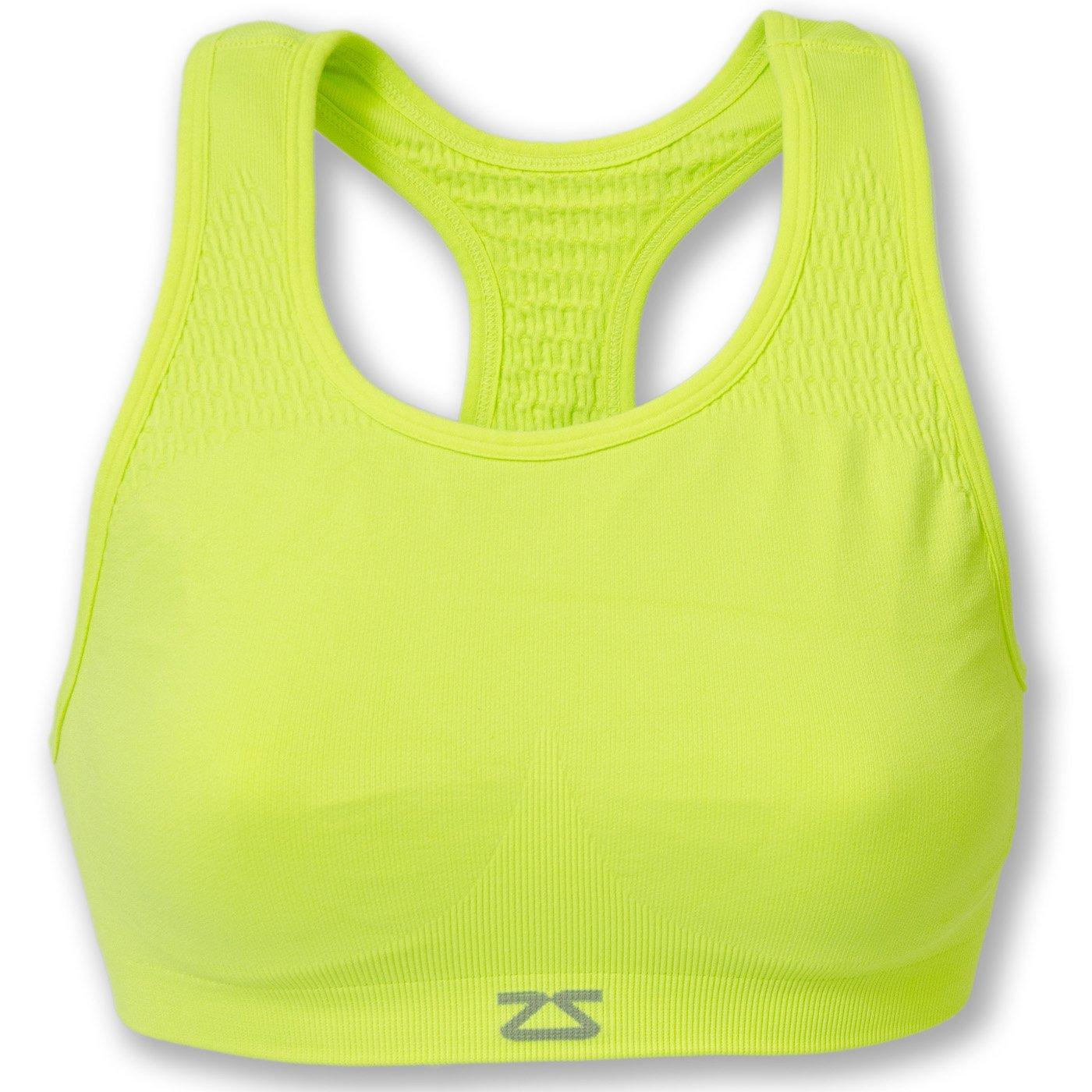Zensah Seamless Sports Bra - Best Sports Bra for Running, Comfortable Sports Bra,Neon Yellow,Small/Medium by Zensah