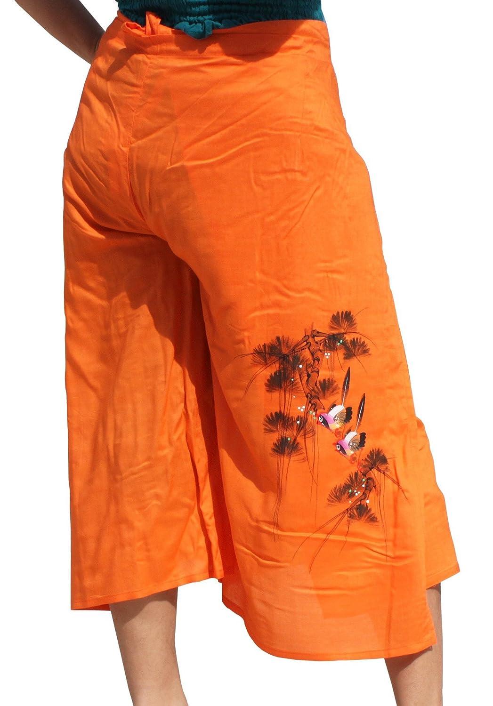 RaanPahMuang Drivein Wrap Viscose Capri Pants With Hand Painted Two Birds Large Orange item677960AMZ