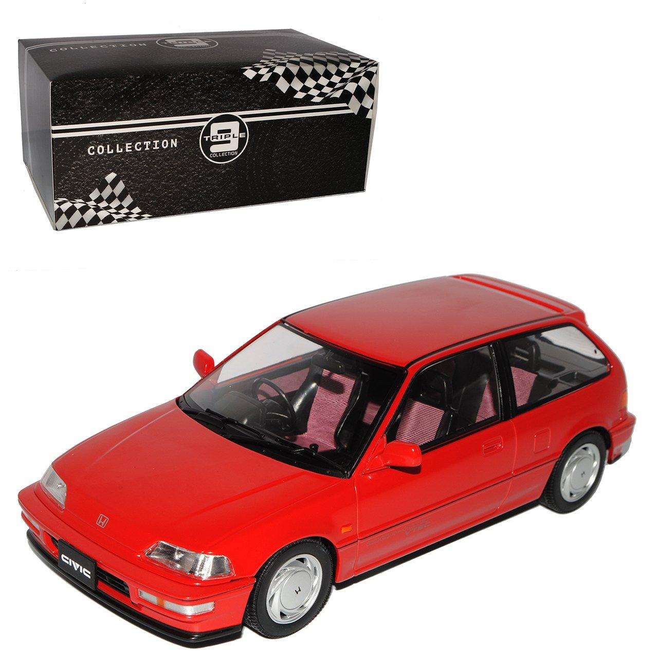 PremiumX Honda Civic EF-9 SI Rot 3 Türer 4. Generation 1987-1991 Triple 9 1/18 Modell Auto