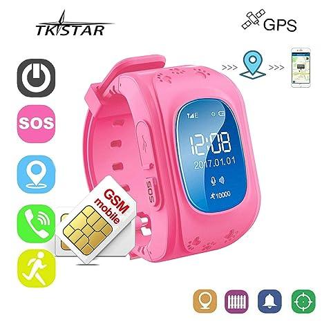 Reloj Niña Rosa Reloj Niño GPS Localizador Pulsera de Actividad Inteligente GPS GPS Tracker Material Respetuoso
