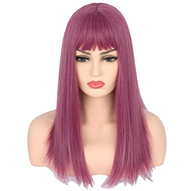 lemarnia womens wig purple long straight mal wig cosplay halloween costumes wigs
