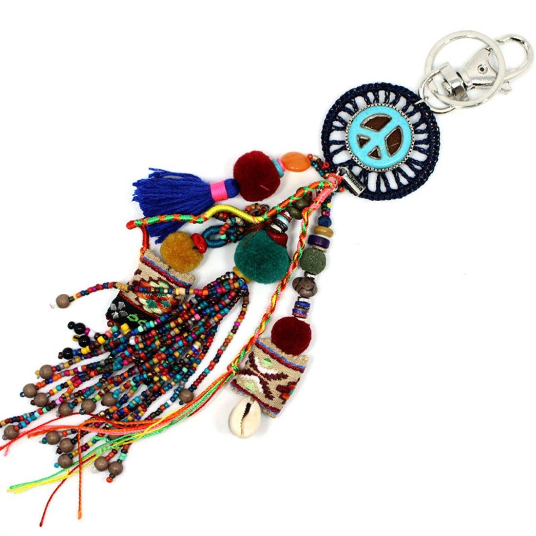 JAASA Handmade jewelry Keychain Peace Mark Seed Beads Pendant Charm Key Chains Bohemian Accessories Gift for Women Girl