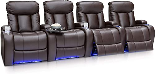 Seatcraft Orleans Home Theater Seating Power Recline Leather Gel Row of 4, Brown