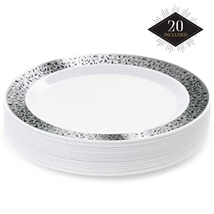 Disposable White PLASTIC PLATES ~ ~ ~ ~ ~ ~ party ware light weight high quality