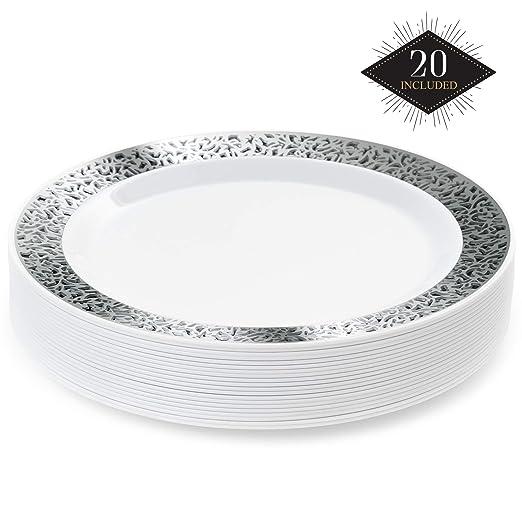 20 Premium Platos Desechables de Plástico Duro con Elegante Borde de Encaje Plateado, 26cm| Durable Lavable y Reutilizable| Vajilla Blanca y Plateada| ...