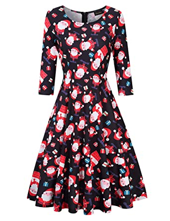 22de472b7d GloryStar Women s 3 4 Sleeve Christmas Dresses Vintage Cocktail Fit Flare A  line Swing Dress