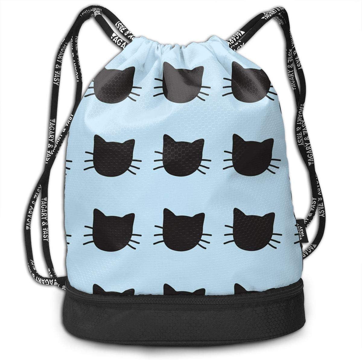 HUOPR5Q Hand-Drawn-Cats Drawstring Backpack Sport Gym Sack Shoulder Bulk Bag Dance Bag for School Travel