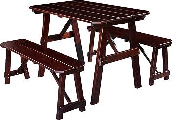 SixBros. Kinder Picknicktisch Gartengarnitur Bierbank Holz Tisch/Bank Kiefer Braun - PT-187-1/1159