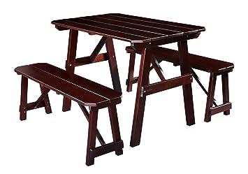 SixBros. Kinder Picknicktisch Gartengarnitur Kindersitzgruppe Holz Tisch/Bank Kiefer Braun PT-187-1/1159