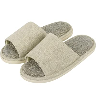 Amazon.com | 4How Men's Open Toe Slippers Linen Indoor Home Slippers | Slippers