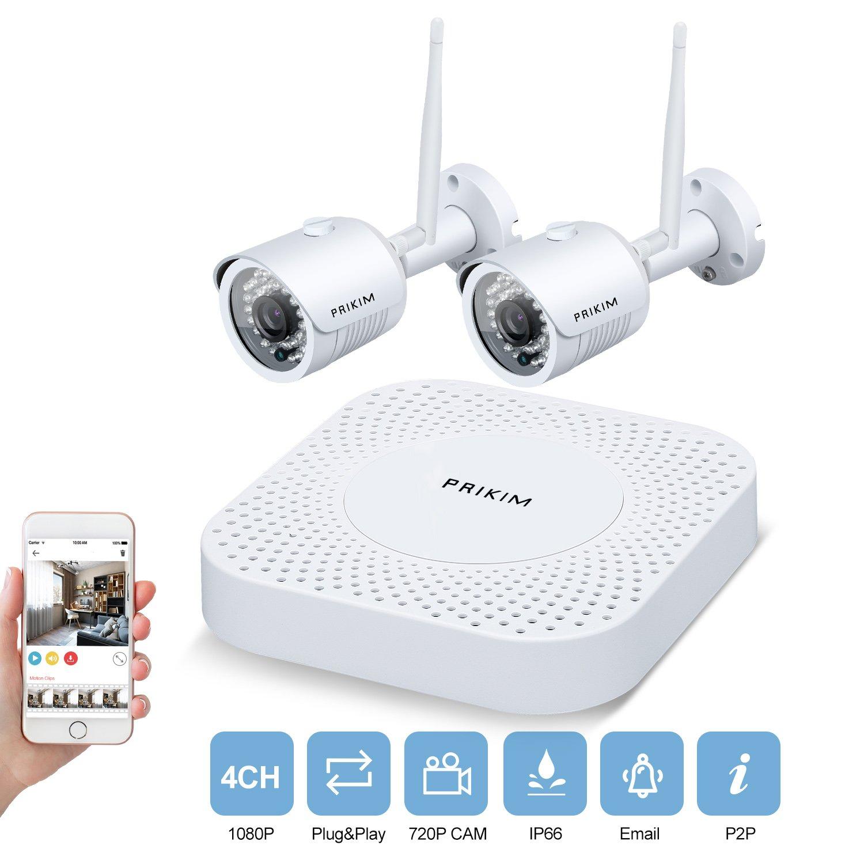 PRIKIM Sistema de cámara de seguridad inalámbrica 1080P WiFi Video NVR con 2 cámaras inalámbricas Mini Bullet IP Impermeable IP66 Night Vision para vigilancia doméstica, W5