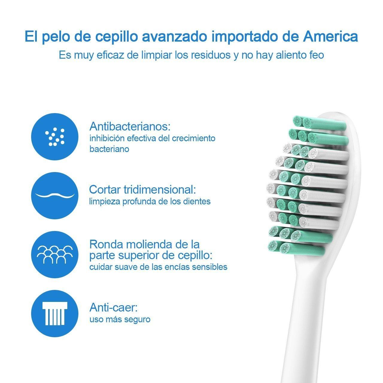 HEXU Cabezales de Cepillos, 2 Cabezales para Cepillo de Dientes Eléctricos Ultrasónicos Recargable ,2 unidades: Amazon.es: Electrónica