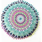 Indexp Round Pillowcase Indian Bohemian Cushions Mandala Floor Pillows Cover (Green)