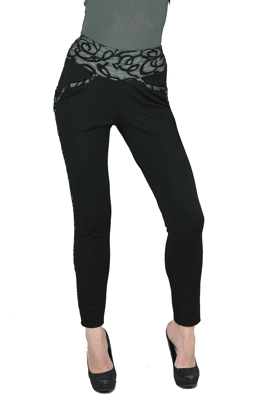 Dzhavael Couture Woman's Black Stretch Thick Fabric Slim Pants (30883)