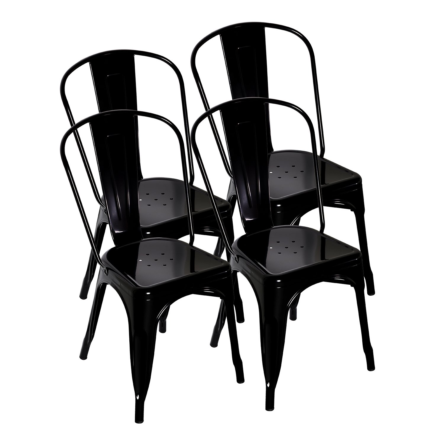 LCH Metal Industrial Stackable Dining Bistro Cafe Side Chairs, Set of 4, Black
