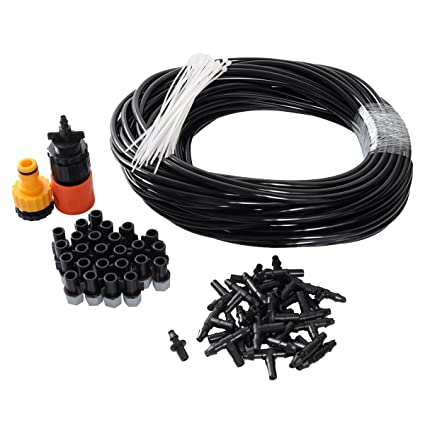 theBlueStone DIY 82FT 25 Nozzles Misting System Kit For Outdoor Swimming Pool Cooling Garden Greenhouse Irrigation
