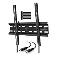 TV Wall Mount Bracket Tilt Low Profile for Most 23-55 inch LED, LCD, OLED, Plasma Flat Screen TVs with VESA up to 115lbs (52.3kg) 400x400mm - Bonus HDMI Cable and Cable Ties by PERLESMITH