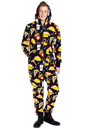 9c965f19ea52 Tipsy Elves Men s Christmas Onesie Pajamas - Black Festive Fast Food Adult  Jumpsuit  Medium