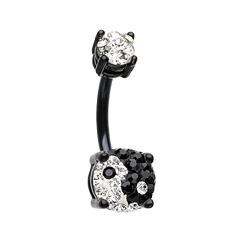 Black Yin Yang Sprinkle Dot Gem Prong Sparkle Navel Belly Button Ring 14GA 3//8 Little Aiden